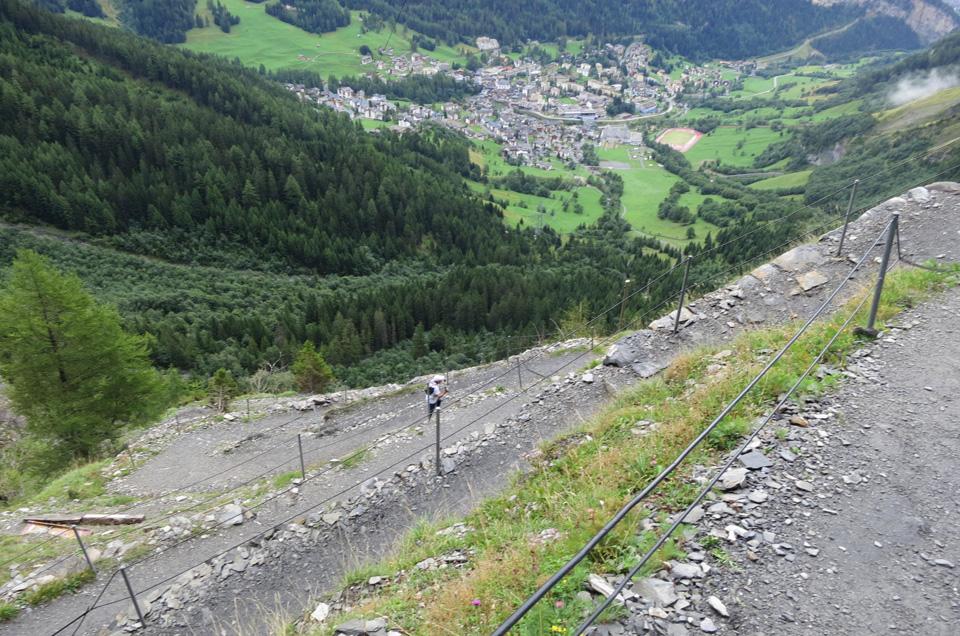 switchback trail to the Gemmi pass above Leukerbad, Switzerland